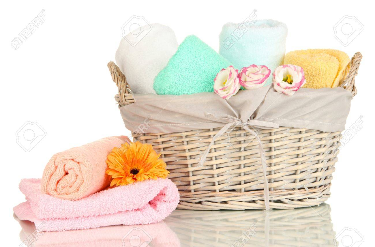 Bathroom Towels Folded In Wicker Basket Isolated On White Stock Photo    18316305
