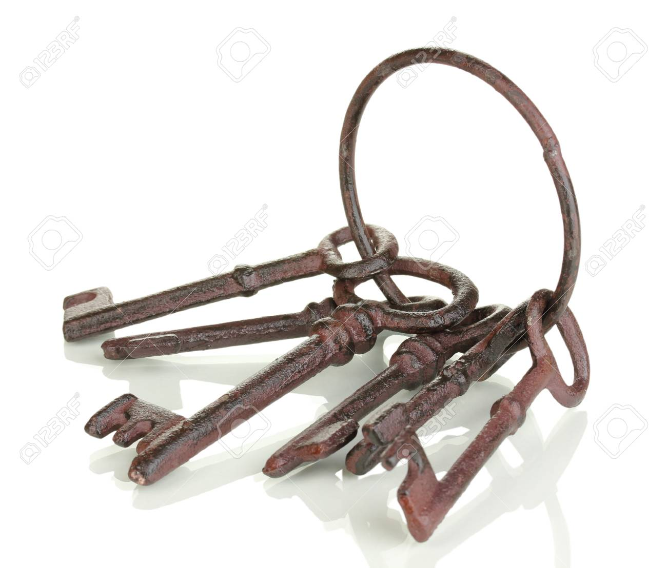 Bunch of old keys isolated on white Stock Photo - 18313173