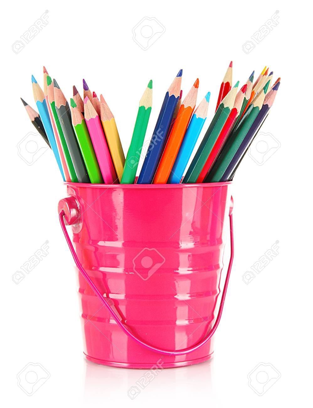 Colorful pencils in pail isolated on white Stock Photo - 18315960
