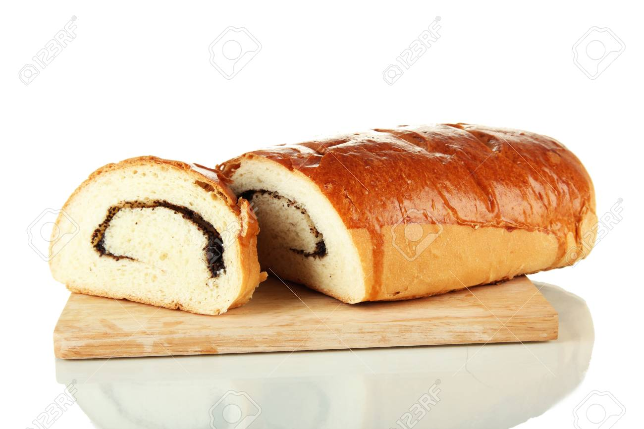 Loaf with poppy seeds on cutting board, isolated on white Stock Photo - 18322848