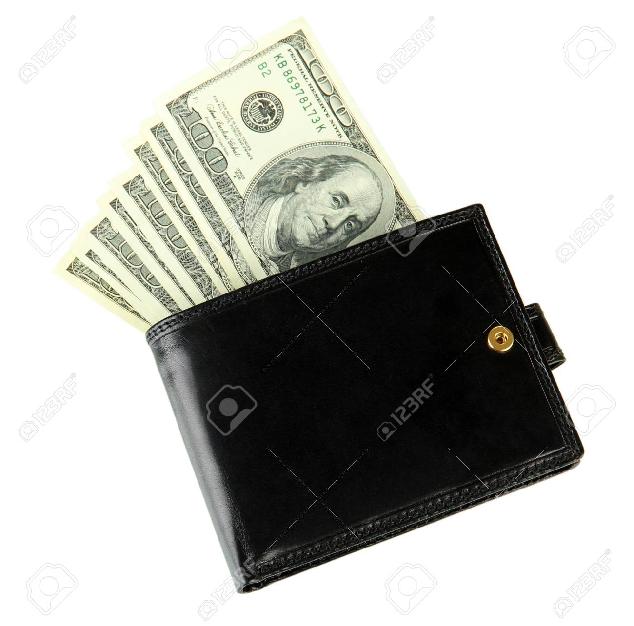 Wallet with hundred dollar banknotes, isolated on white Stock Photo - 18322525