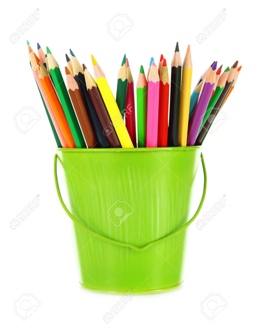 Colorful pencils in pail isolated on white Stock Photo - 18322693
