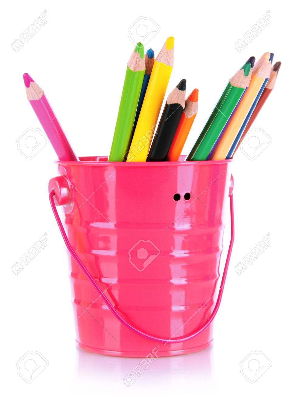 Colorful pencils in pail isolated on white Stock Photo - 18322506