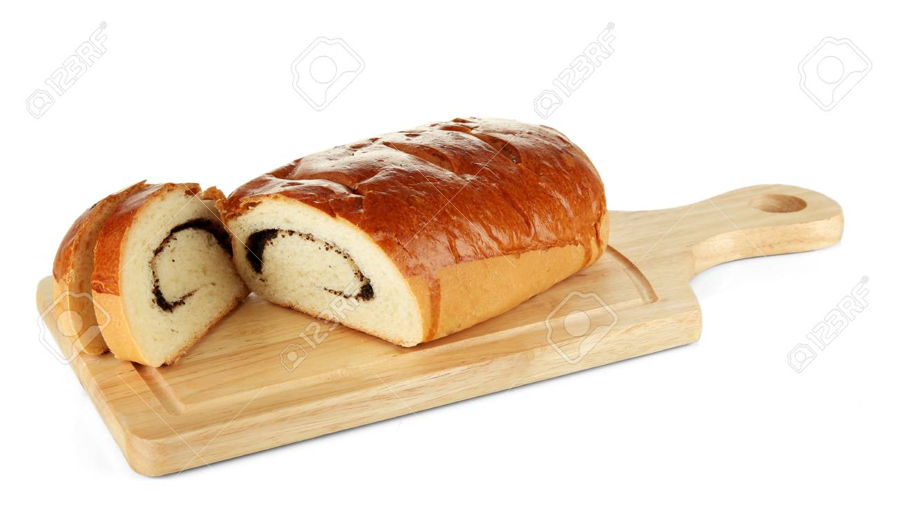Loaf with poppy seeds on cutting board, isolated on white Stock Photo - 18500387