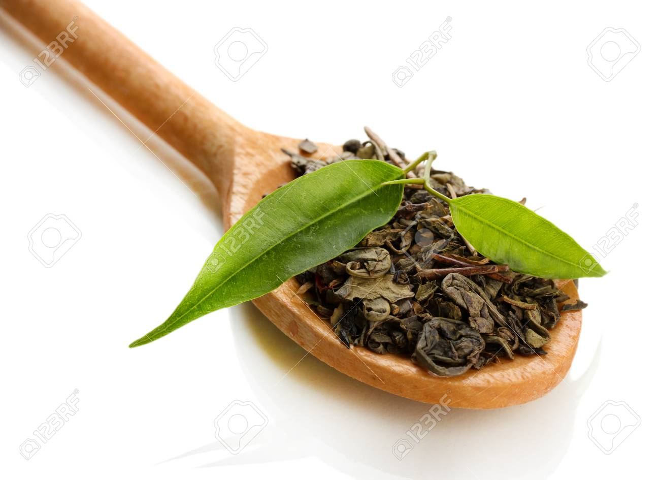 Dry tea with green leaves in wooden spoon, isolated on white Stock Photo - 18500494