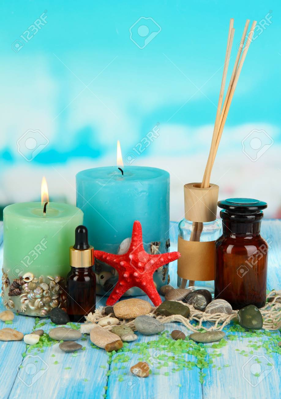 Sea spa composition on wooden table on blue natural background Stock Photo - 18579316