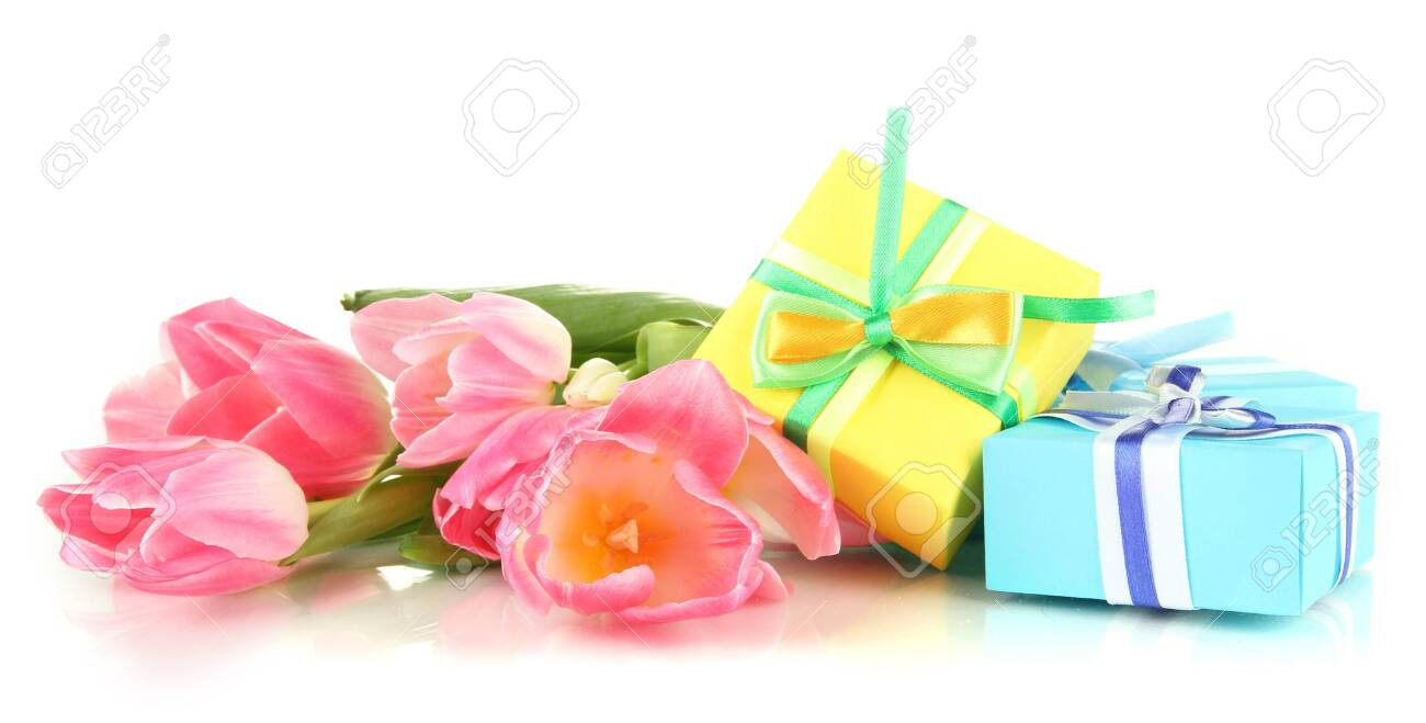Pink tulips and gift boxes, isolated on white Stock Photo - 18628532