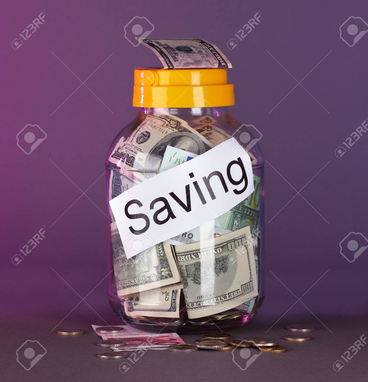Money in the bank on a gray background Stock Photo - 18631613