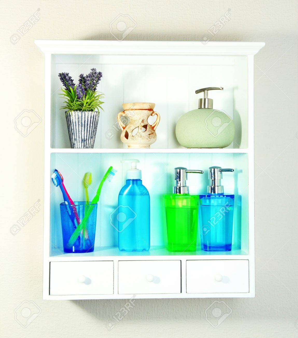 Beautiful White Shelves With Different Bathroom Objects Stock Photo ...