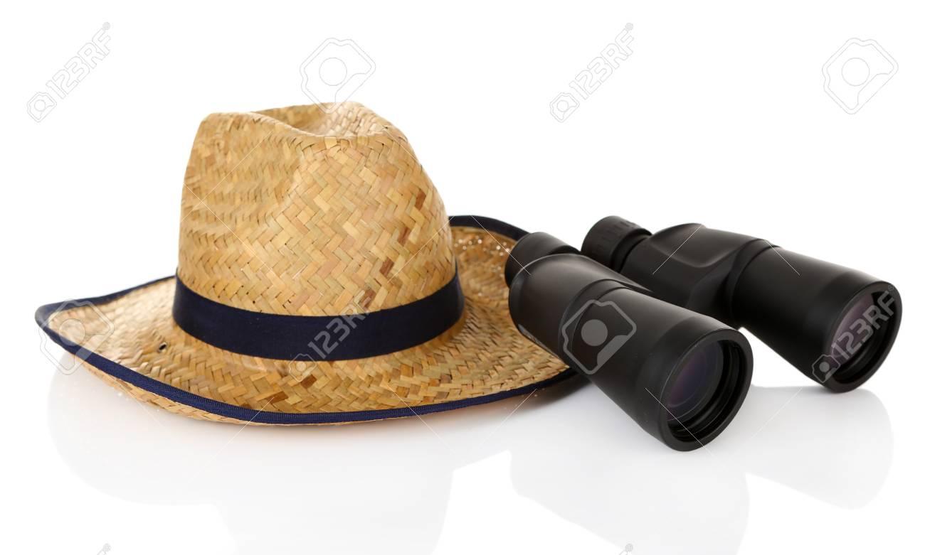 Black prismáticos modernos con sombrero de paja aislado en blanco Foto de  archivo - 18741477 502df595947