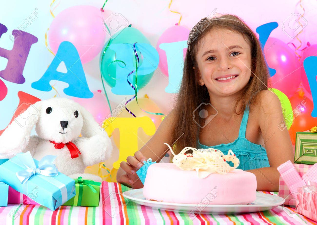 Little beautiful girl celebrate her birthday Stock Photo - 19360425