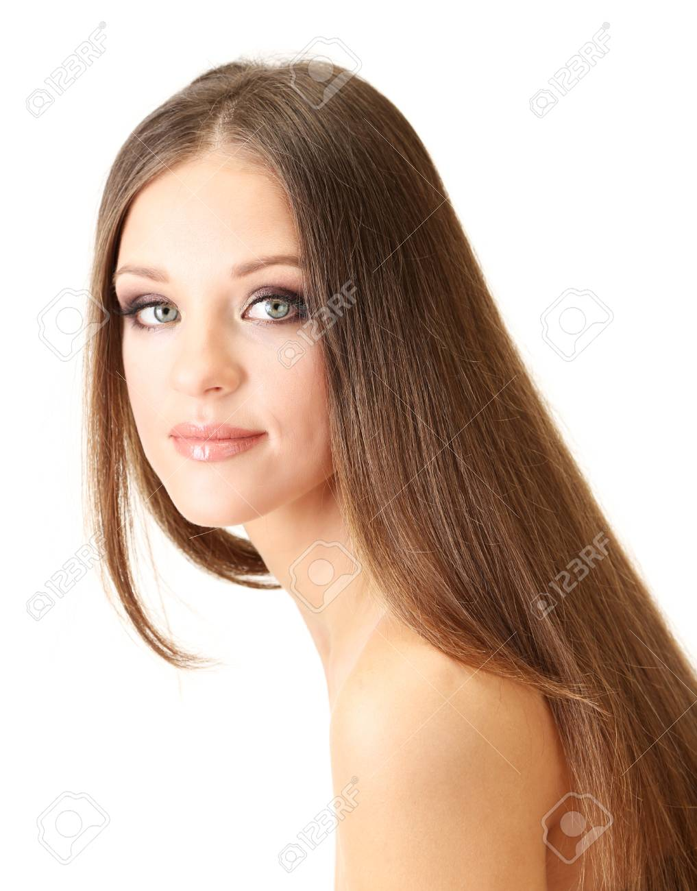 Portrait of beautiful woman with long hair, isolated on white Stock Photo - 19035144