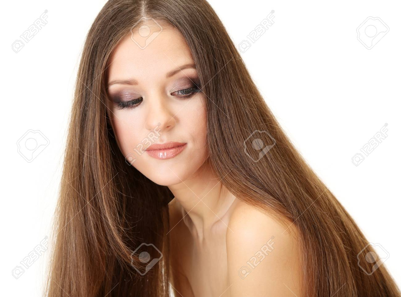 Portrait of beautiful woman with long hair, isolated on white Stock Photo - 19035155