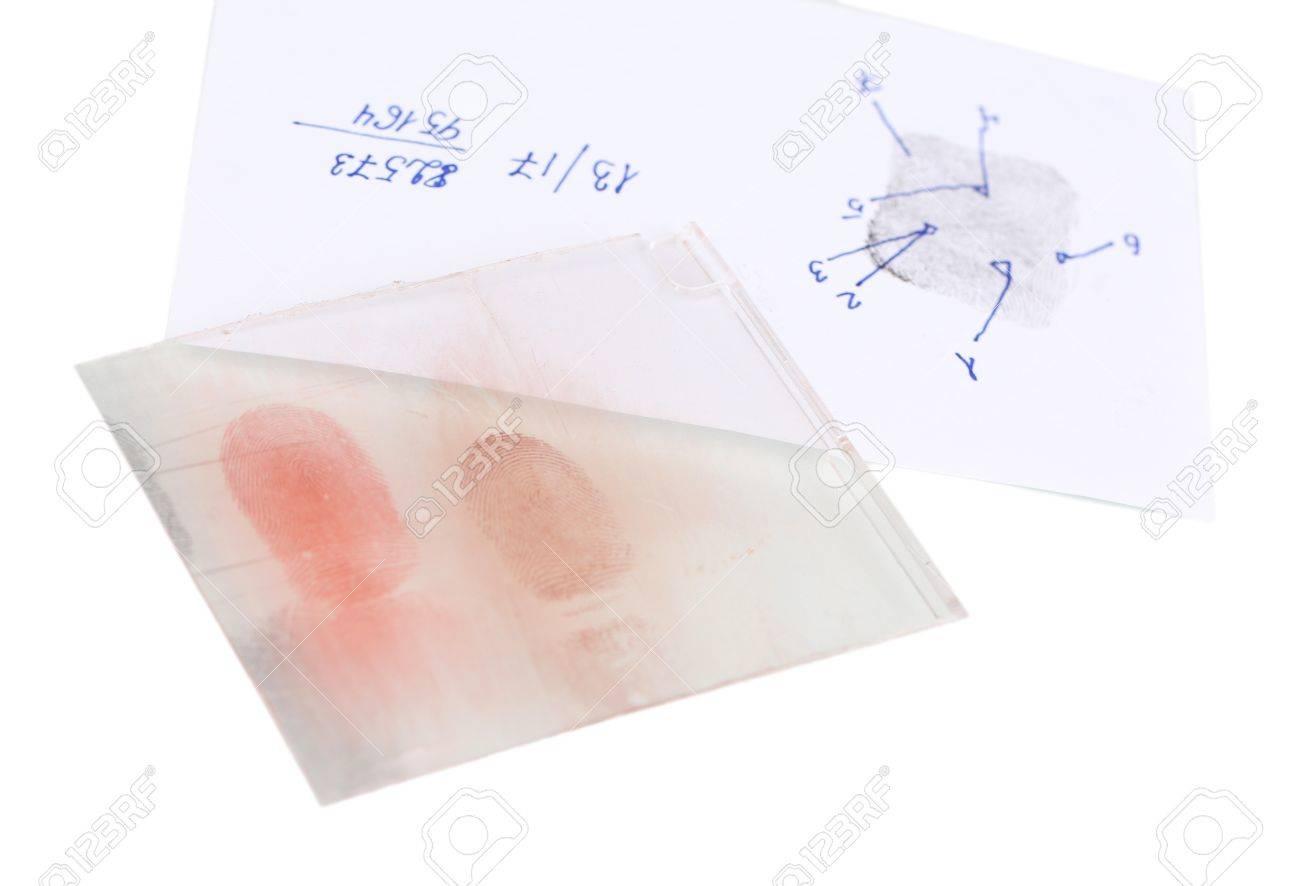 Fingerprints on glass close-up isolated on white Stock Photo - 19098923