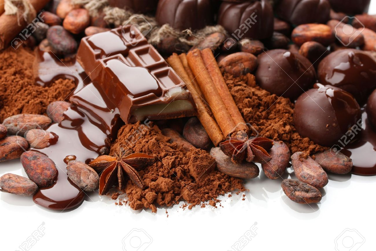 Composition Of Chocolate Sweets, Cocoa And Spices, Isolated On ...