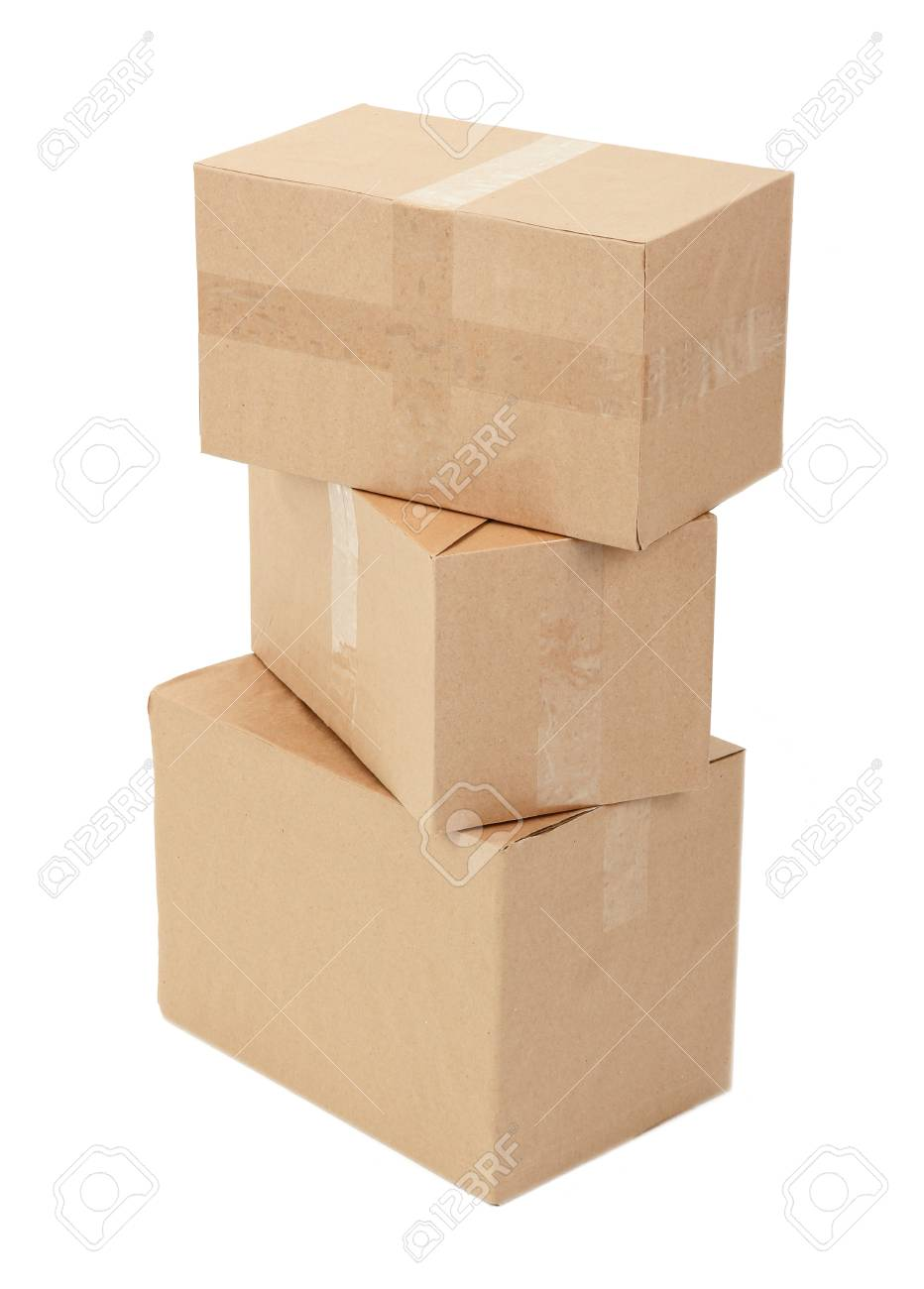 Different cardboard boxes isolated on white Stock Photo - 19764519