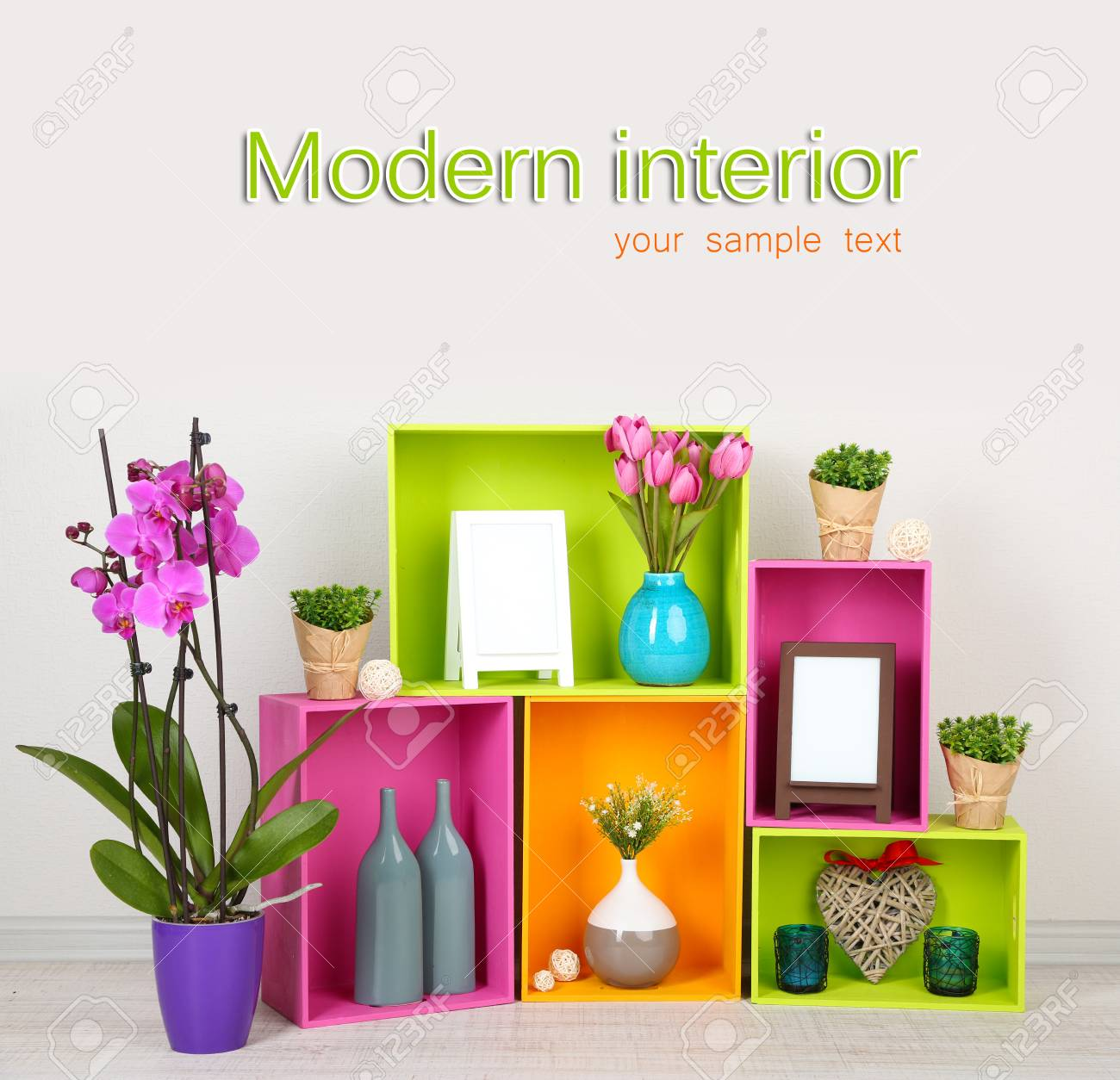 Beautiful colorful shelves with different home related objects Stock Photo - 19821044