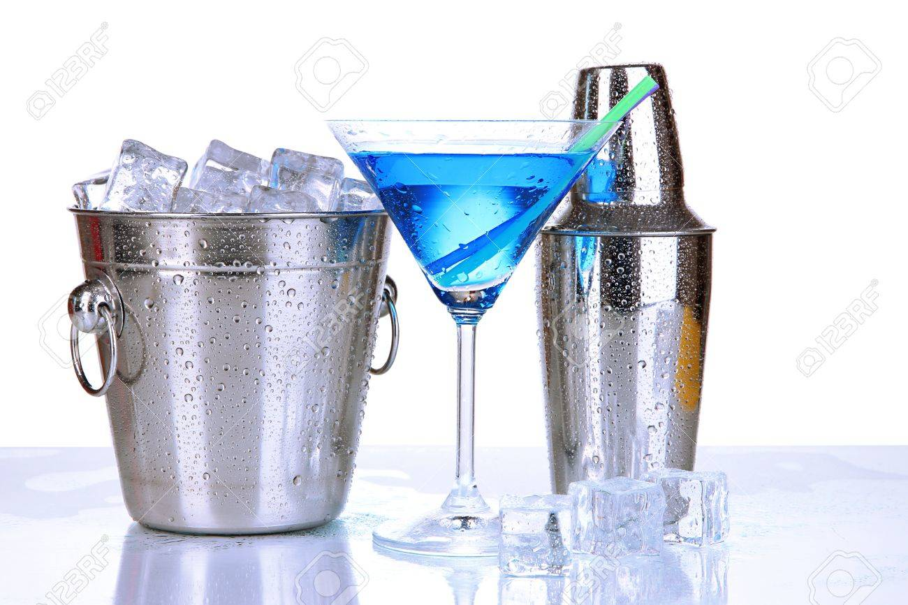 Metal ice bucket and shaker and cocktail isolated on white Stock Photo - 19958459