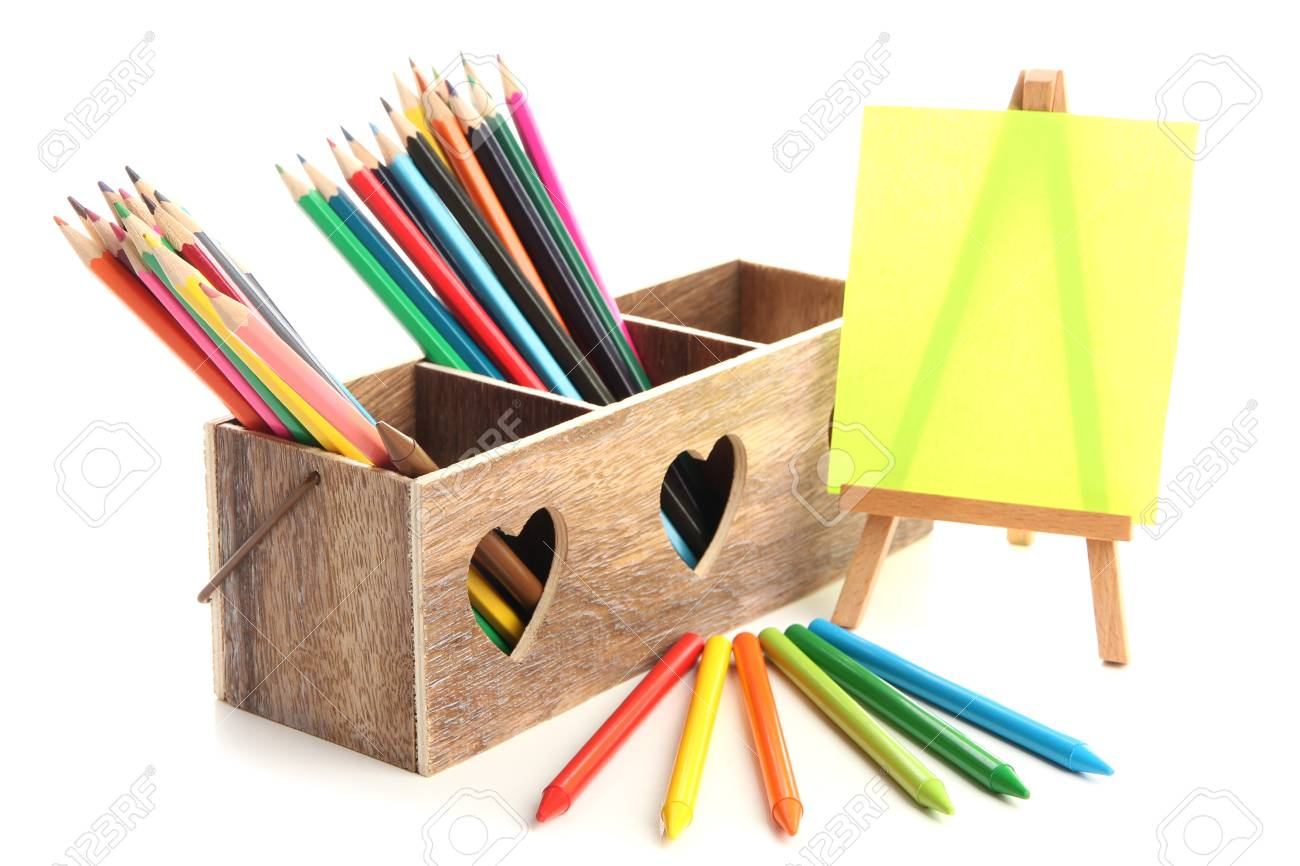 Different pencils in wooden crate and easel, isolated on white Stock Photo - 19988687