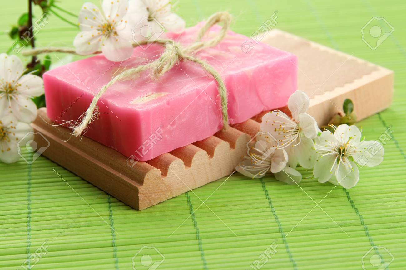 Natural Handmade Soap On Bamboo Mat Stock Photo, Picture And Royalty ...