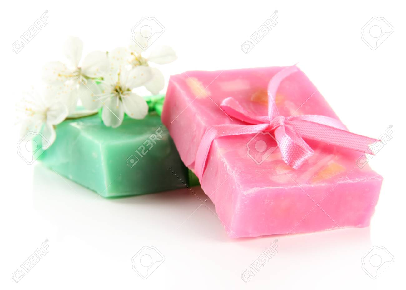 Natural Handmade Soap, Isolated On White Stock Photo, Picture And ...