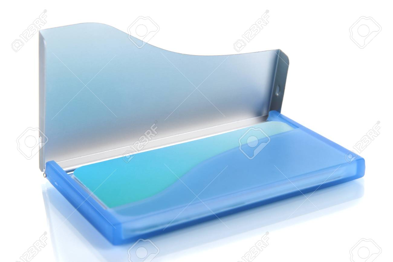 Blue Business Card Holder Isolated On White Stock Photo, Picture And ...