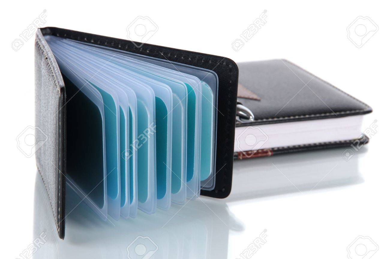 Black Business Card Holder Notebook And Pen Isolated On White ...
