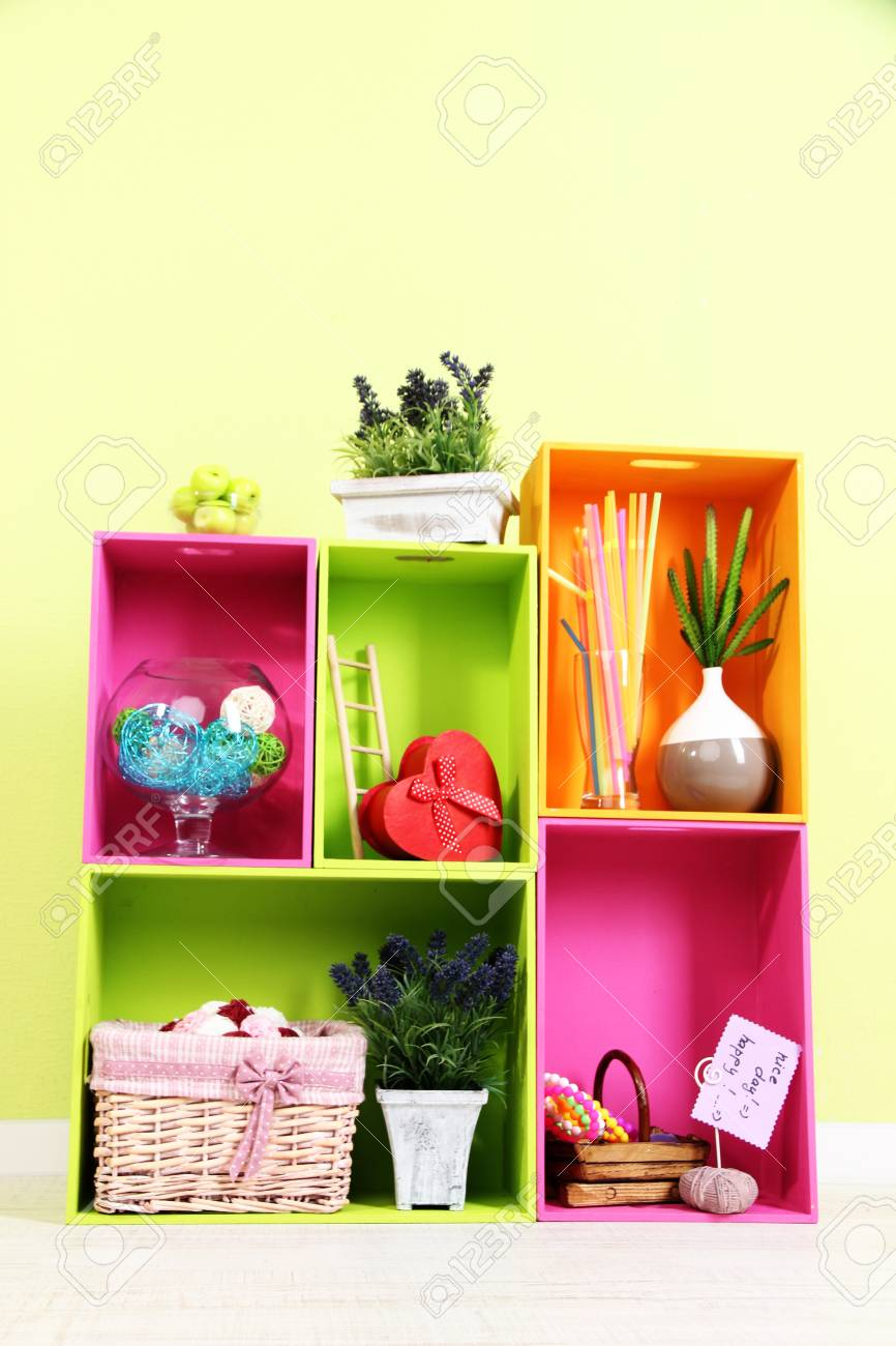 Shelves Of Different Bright Colors With Decorative Addition On ...