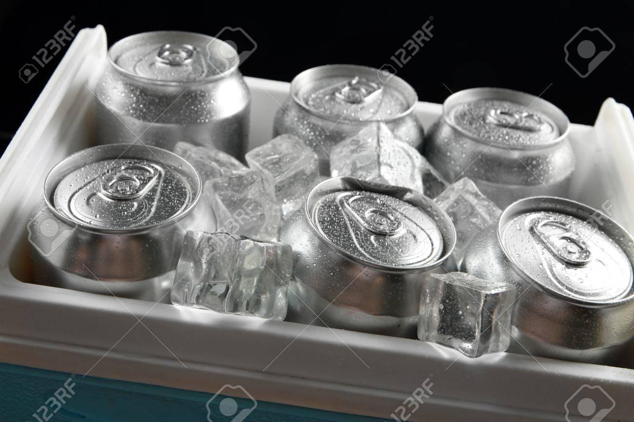 Mini Kühlschrank Für Bier : Metall dosen bier mit eiswürfeln in mini kühlschrank close up
