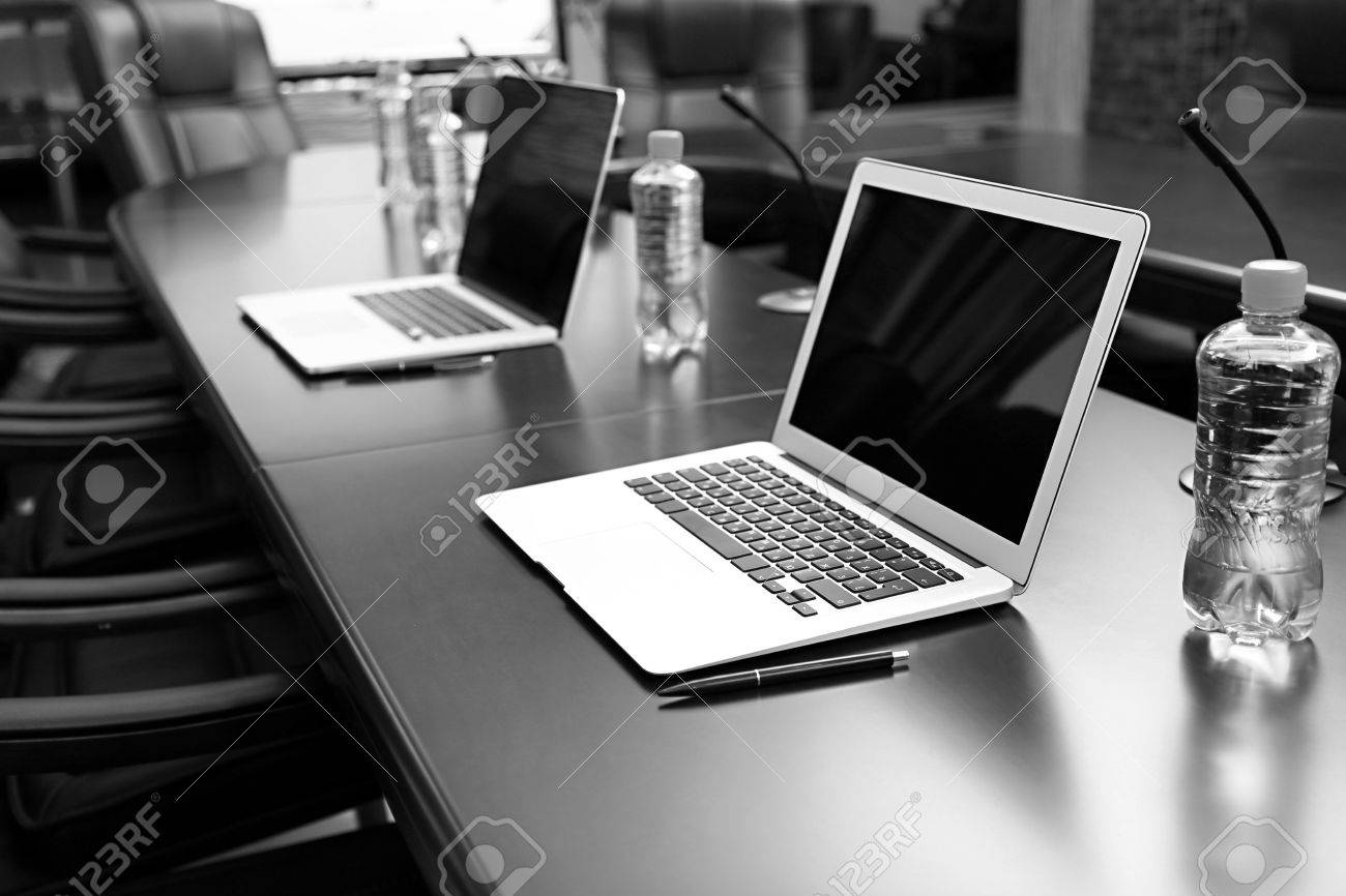 Empty conference room with laptops on table in shades of grey Stock Photo - 21468525