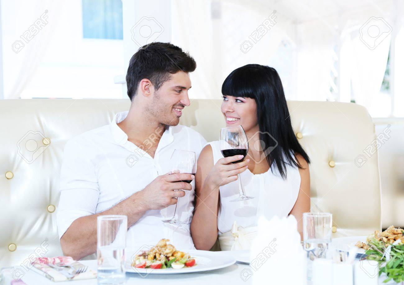 Beautiful couple having  romantic dinner at restaurant Stock Photo - 22429133