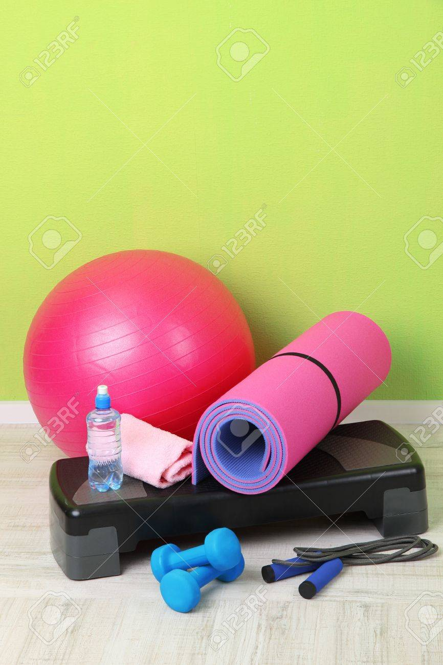 Different tools for fitness in room Stock Photo - 21828328