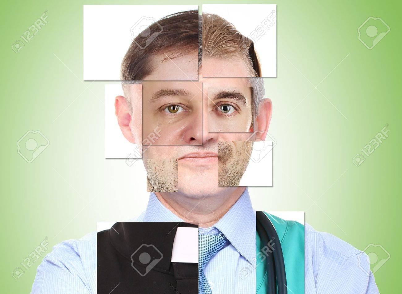 Menschliche Männliche Gesicht Von Mehreren Verschiedenen Personen ...