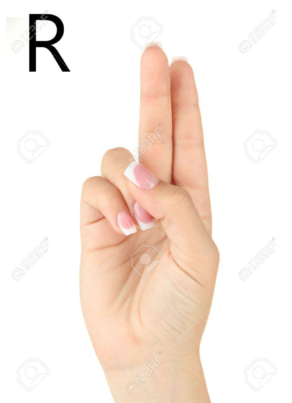 finger spelling the alphabet in american sign language asl letter r stock photo