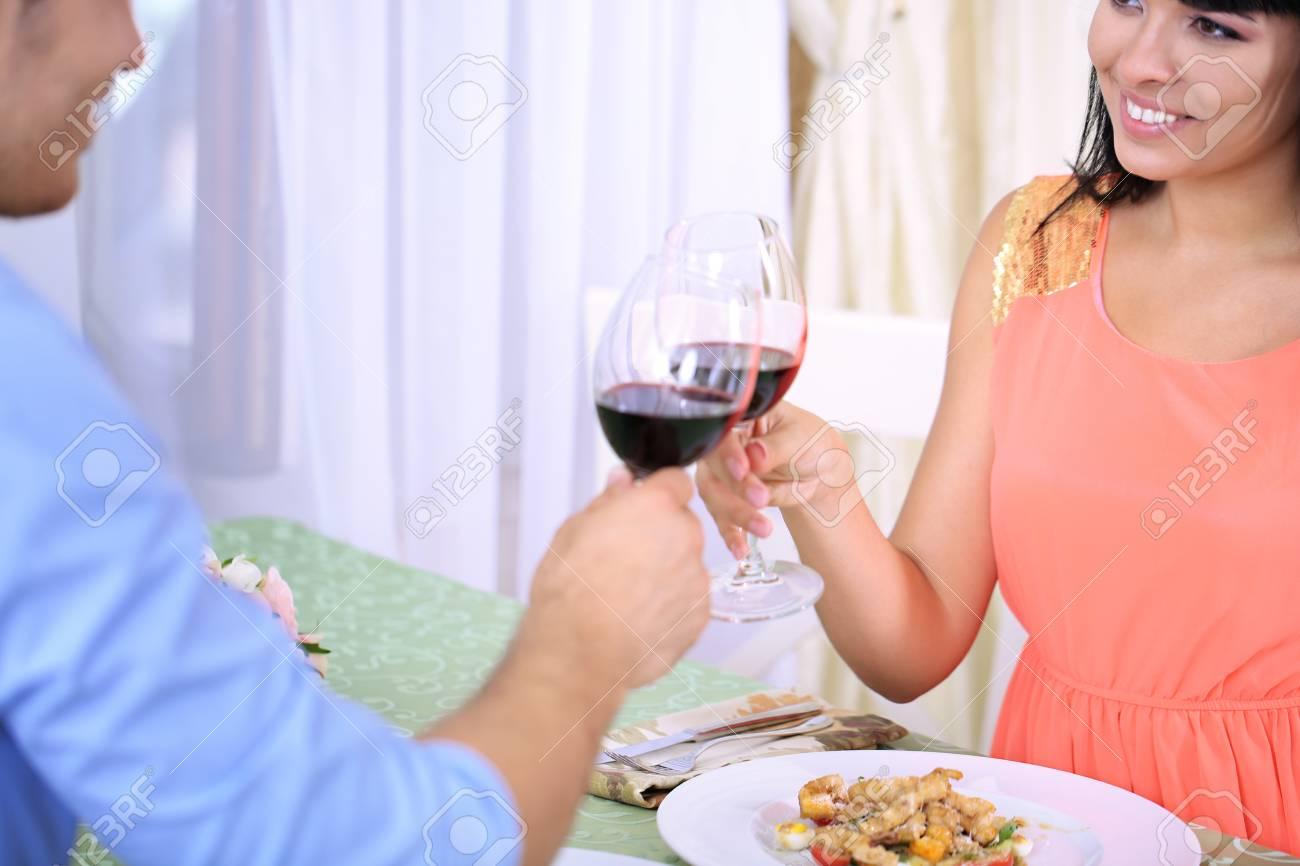 Beautiful couple having  romantic dinner at restaurant Stock Photo - 22370320