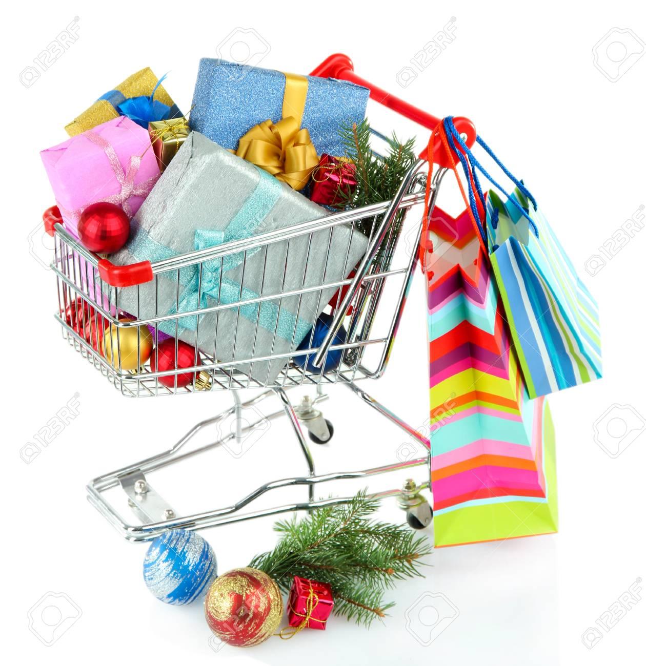 Weihnachtsgeschenke In Einkaufswagen, Isoliert Auf Weiß Lizenzfreie ...