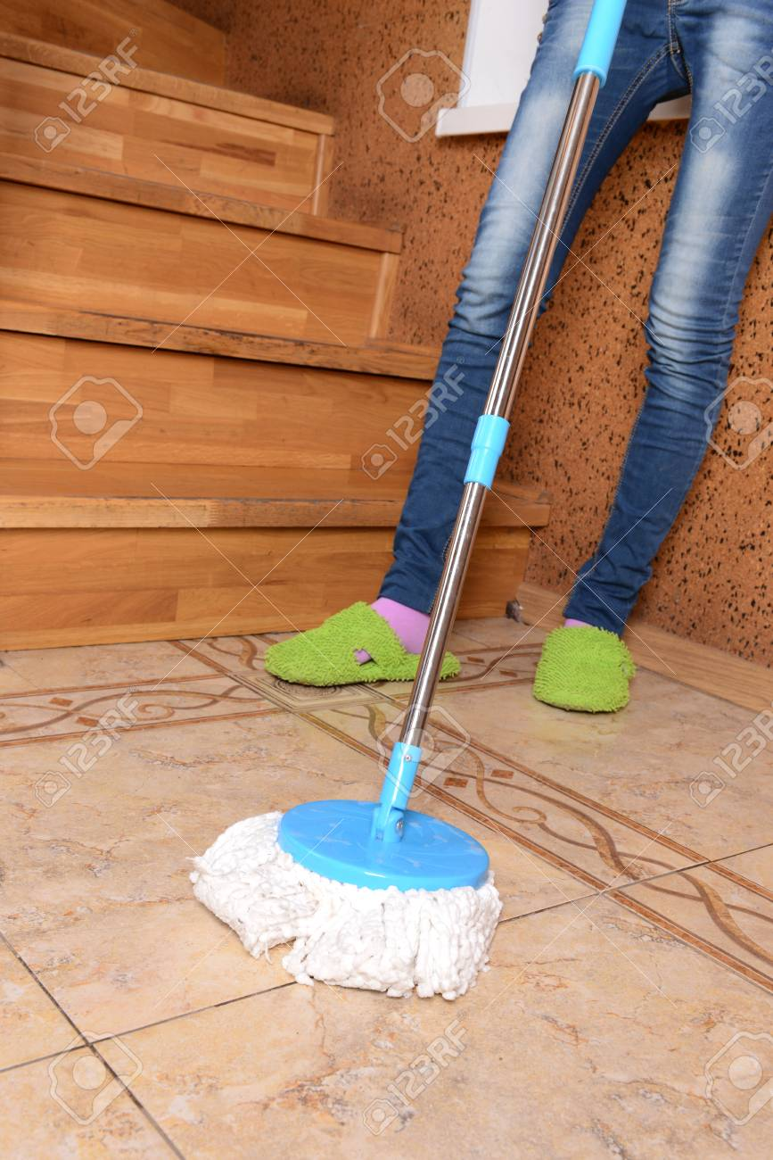 House cleaning with  mop Stock Photo - 23425622