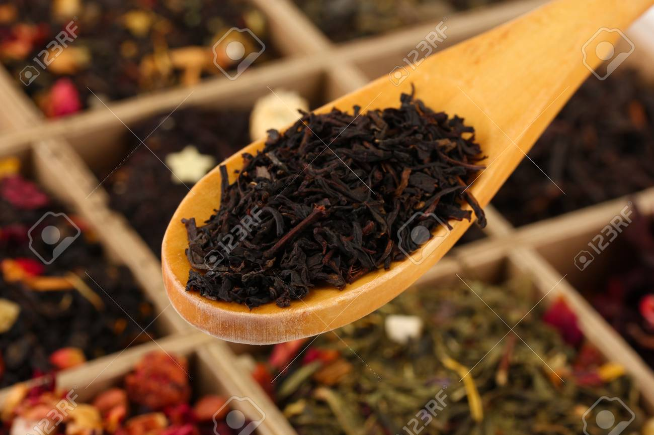 Assortment Of Dry Tea In Wooden Box Close Up