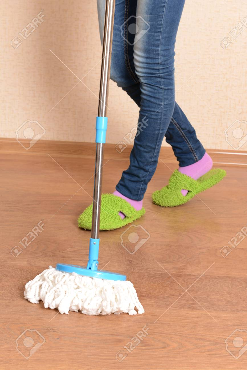 House cleaning with  mop Stock Photo - 24207034