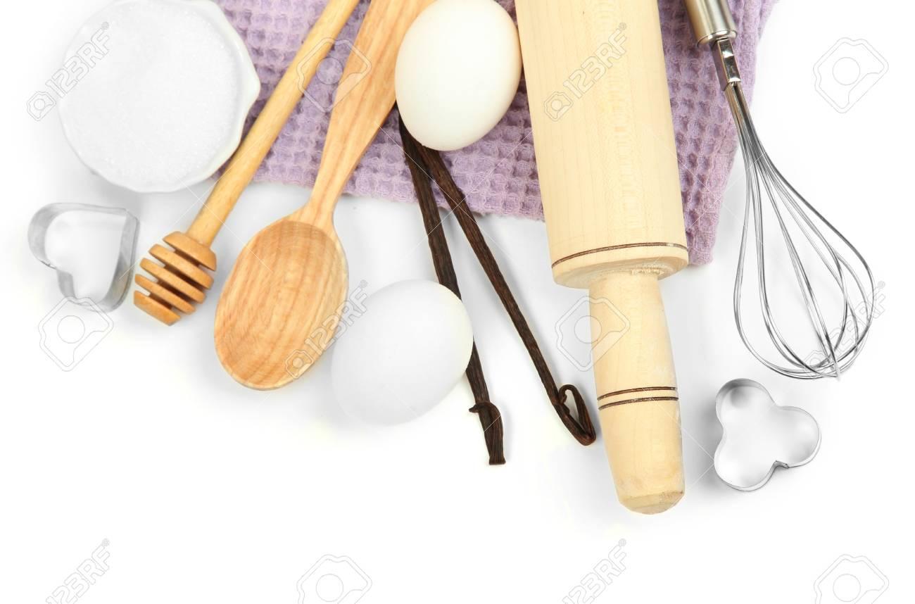 Cocinar Concepto. Ingredientes Básicos De Cocción Y Utensilios De ...
