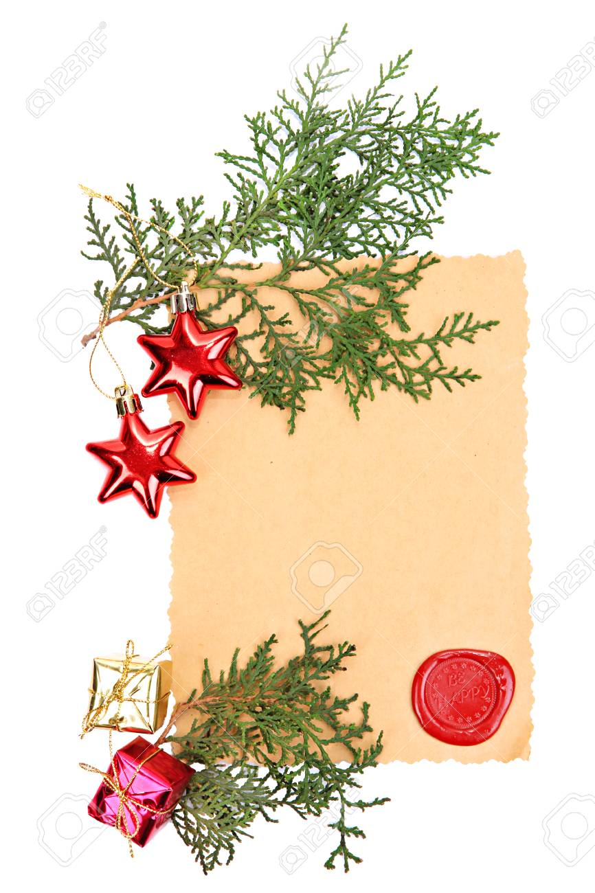 Frame With Vintage Paper And Christmas Decorations Isolated On