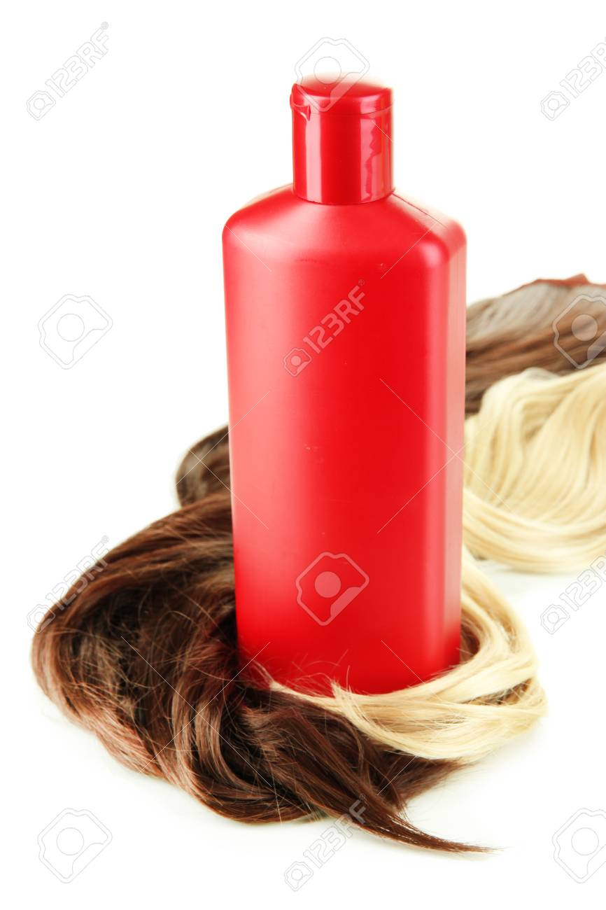 Curly blond and brown hair with shampoo isolated on white Stock Photo - 24943925