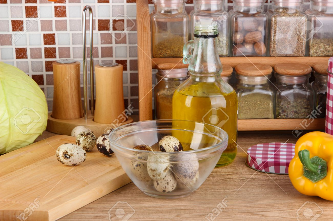 kitchen table with food. kitchen table with food cooking in on mosaic tiles background stock