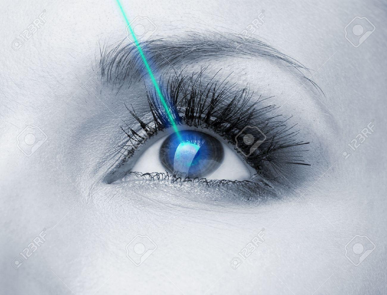 Laser vision correction. Woman's eye. - 27096217