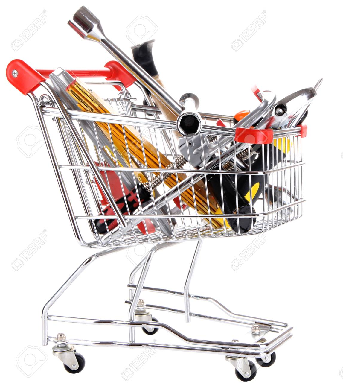 Construction tools in shopping cart isolated on white Stock Photo - 25753637