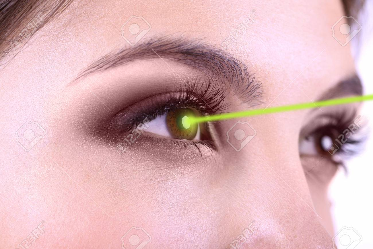 Laser vision correction. Woman's eyes. - 27055777