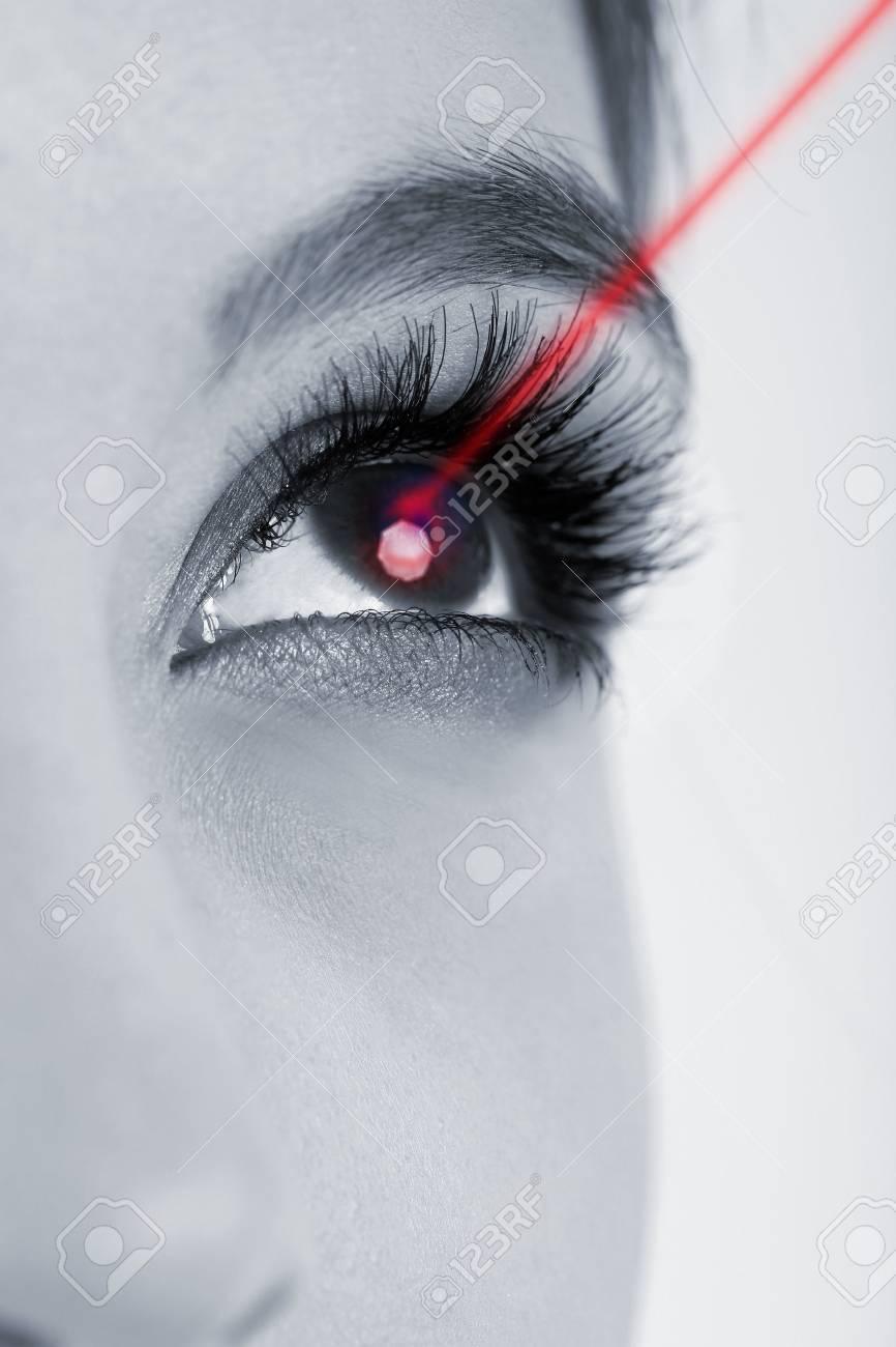 Laser vision correction. Woman's eye. - 27055778
