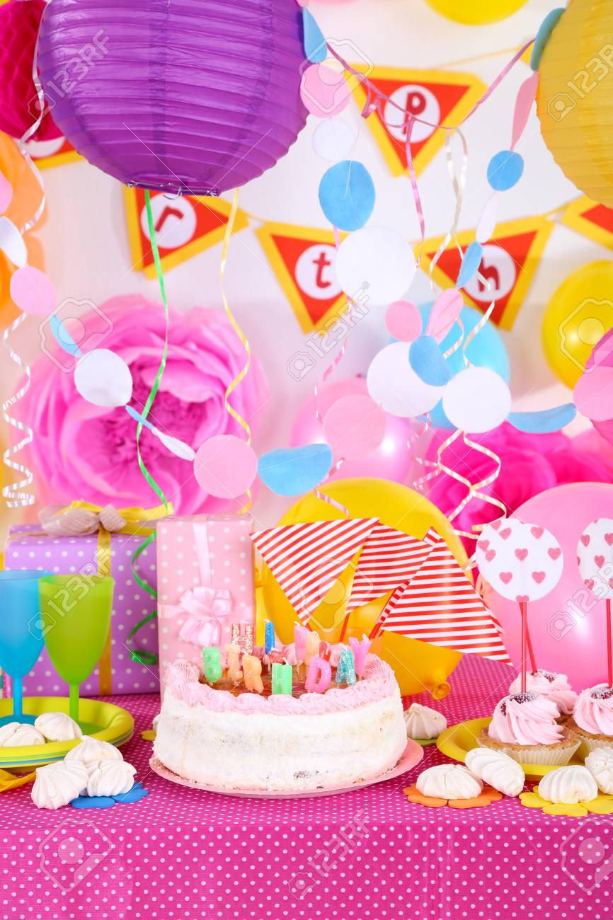 Festive Table Setting For Birthday On Celebratory Decorations Stock ...