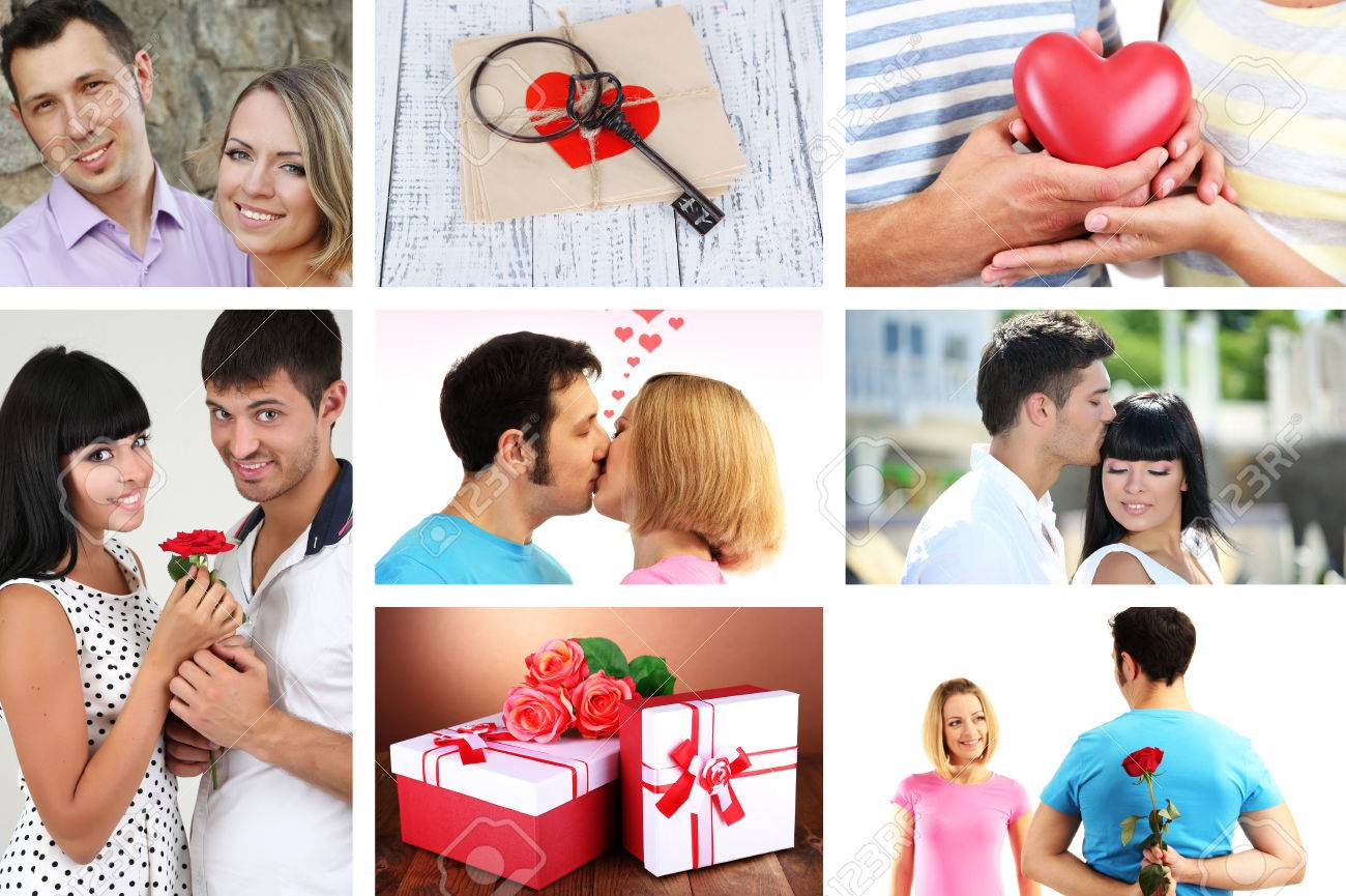 Collage Of Valentineu0027s Day. Beautiful Couples Stock Photo   27096496