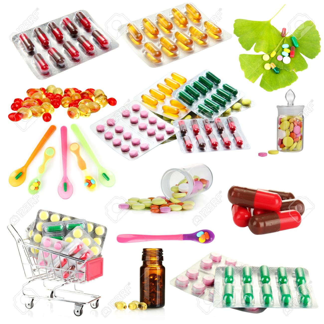 Collage of pharmaceutical products isolated on white - 26887294
